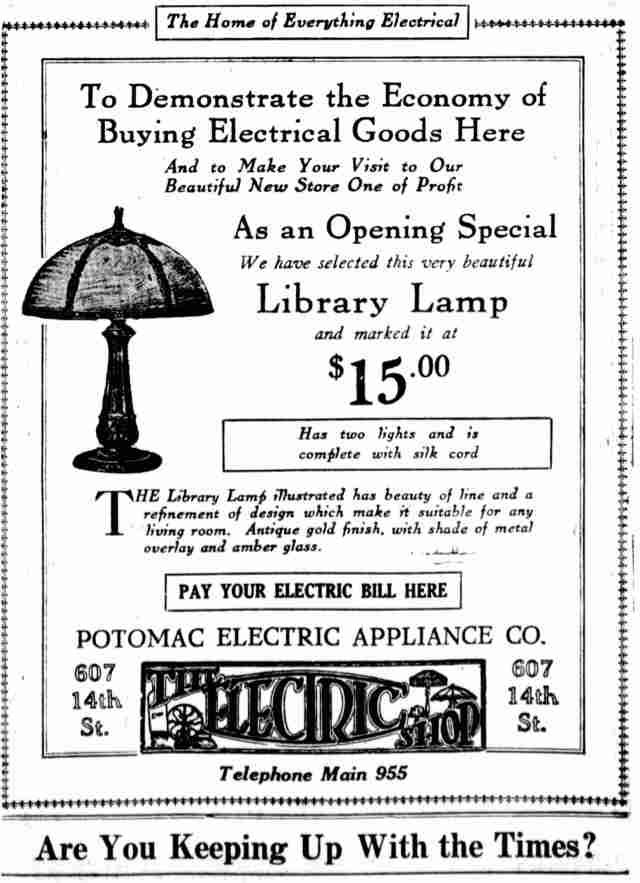 Potomac Electric Library Lamp