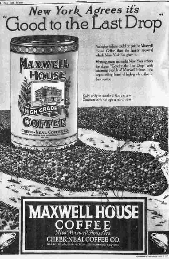 maxwell house coffee ad 1922