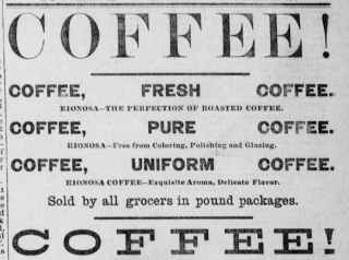 1884 coffee advertisement
