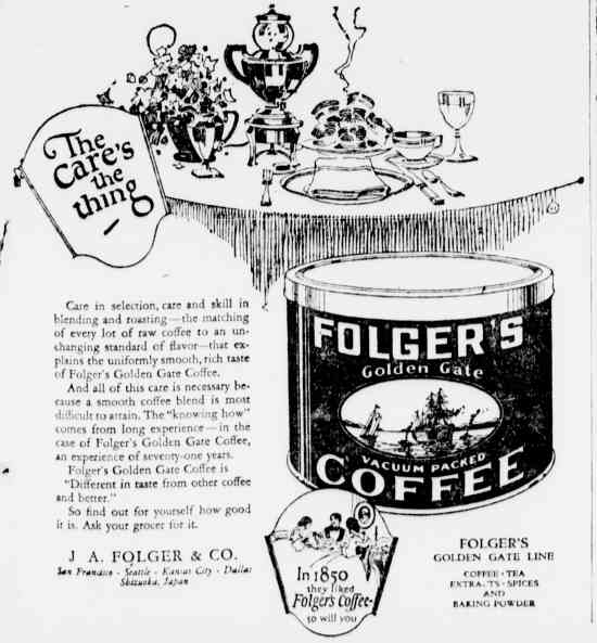 1921 folgers coffee ad