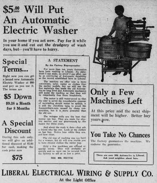 1921 automatic electric washer