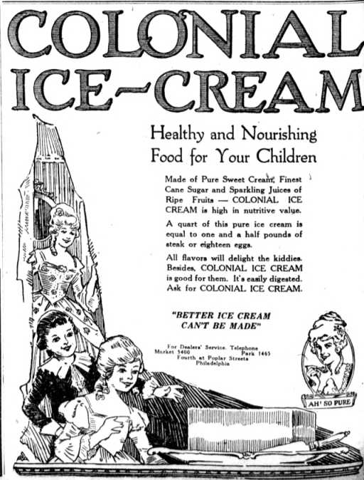 1920 colonial ice cream ad